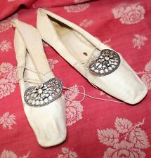 Antique Women's White Kid Leather Square Toe Shoes Buckles Early 1800s