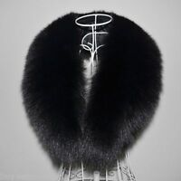 "Black Fox Fur Collar Detach Down Jacket Men Fur Scarf Women Wrap Shawl 39"" US"