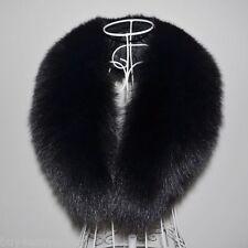 """Black Fox Fur Collar Detach Down Jacket Men Fur Scarf Women Wrap Shawl 39"""" US"""