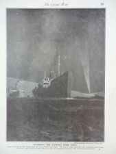 1914 DESTROYERS GUARDING BRITISH FOOD SHIPS SEARCHLIGHTS THAMES ESTUARY WWI WW1