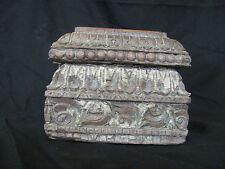 Original, Holz Kapitell, Antik Geschnitzt, Hartholz, Säule, Säulenfragment