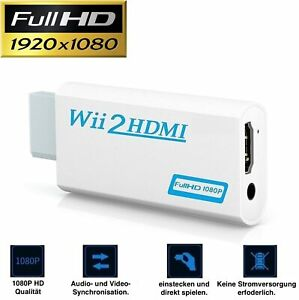Wii HDMI Adapter Konverter Stick 1080p Full HD TV Audio 3,5mm AV Kabel A
