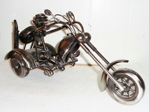 VINTAGE 1980'S USA NUTS AND BOLTS MOTORCYCLE FIGURINE HARLEY DAVIDSON DESIGN