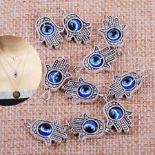 10pcs Tibetan Silver Hamsa Fatima Hand Evil Eye Lucky Charms Pendants Bracelet