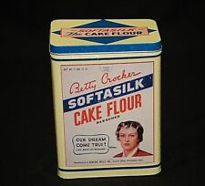 Vintage '96 Ad Betty Crocker Gold Metal Softasilk Cake Flour Litho Metal Tin Can
