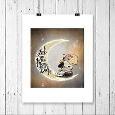 Snoopy Charlie Brown Love You To Moon Back Wall Art Poster Room Deco Unframed