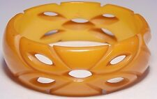 Vintage Butterscotch Yellow Floral Pierced & Carved Bakelite Bangle Bracelet