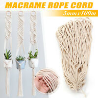 5mm 328FT Macrame Rope Natural Beige Cotton Twisted Cord Artisan Hand Craft Long