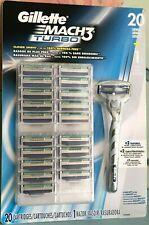 Gillette Mach 3 Turbo Razor Blades 20 Cartridges 1 Razor Handle New & Sealed