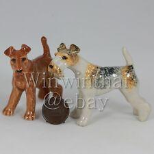 2 Fox Terrier Dog Puppy Set Ceramic Pottery Animal Miniature Figurine