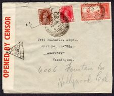 Three 1940s WWII INDIA Censored Covers BOMBAY MOUNT ROAD to HOLLYWOOD CA