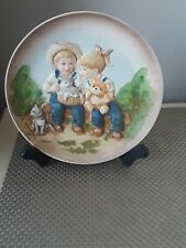 "Home Interiors Homco 1985 Denim Days Collectors 9"" Plate Vintage 1505"