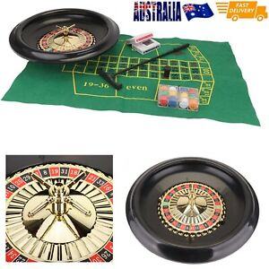 """16"""" Roulette Wheel Set with Felt, Chips, Cards & Rake for Casino Games AU"""
