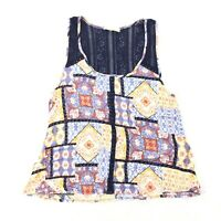 Elodie Crochet Back Tank Size SMALL Womens Patchwork Boho Style Top S