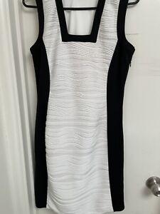 Worn Once Calvin Klein Black And White Sleeveless Dress Sz US 4, AU 8-10