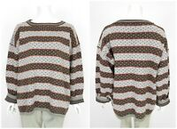 Womens Gudrun Sjoden Vintage Cotton Sweater Jumper Grey Spotted Knit Size XL