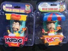 2PC street vendor cart tacos hot dogs BOBBLE HEAD  SOLAR POWER car DASH office