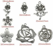 10 Sunflower Charms Rose Pendants Antiqued Silver Flower Findings Assorted Mix