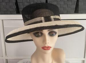 Next 100% Straw Wide Brim Black & Ivory Wedding Races Occassion Ladies Hat