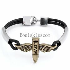 "Vintage Angel Wing "" Love "" Engraved Bullet Cross Bangle Bracelet 7.8"" Wristband"