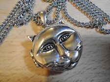 Beautiful BIG CAT FACE 925 Silver plated locket 40 mm pendant  & 69 cm necklace