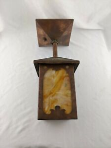 VINTAGE ANTIQUE COPPER ARTS & CRAFTS MISSION SLAG HANGING LAMP LIGHT FIXTURE