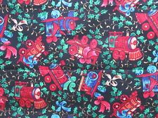 White Multicoloured Toy Train Print Brushed Cotton Fabric 58/'/' PRICE PER METER