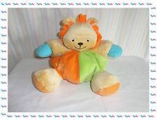C - Doudou Peluche Lion Boule Beige Orange Vert Bleu Grelot Baby Smile