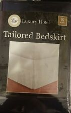 "LUXURY HOTEL KING TAILORED BEDSKIRT NAVY 14"" DROP WASHABLE BED BEDROOM HOME NEW"