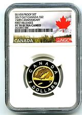 2017 CANADA 150TH ANNIVERSARY TOONIE NGC PF70 UCAM GILT SILVER PROOF TWO DOLLAR