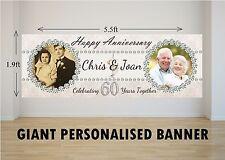 Personalised GIANT Large 60th Diamond Wedding Anniversary Banner N14