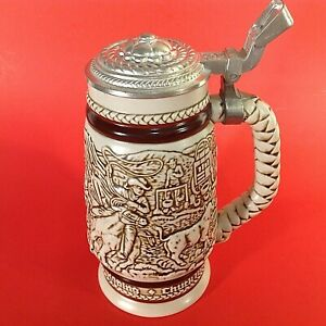 """AVON 1980 BEER STEIN """"AMERICAN WEST CATTLE DRIVE"""" HAND CRAFTED IN BRAZIL VINTAGE"""