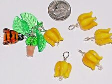 1pc small Glass Yellow Roses dangle flower pendant Lampwork charm bead findings