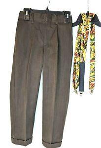 Boys Retro Brown Dress Pants  Size 7 Reg w/ Adjustable Suspenders