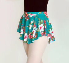NEW! Ballet Dance Skirt Teal Floral Tropical SAB Wrap Look Circle Skirt Pull-On