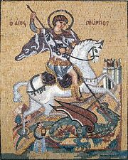 "40""x 28"" St. George Religious Icon Marble Mosaic For Church Art Tile Stone Decor"