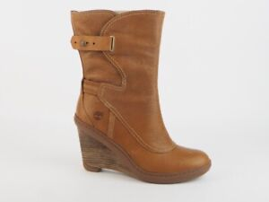 Womens Timberland Stratham Heights Mid 3623R Leather Brown Wedge Boots