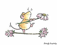 Crossing Flower Bridges Mouse Wood Mounted Rubber Stamp PENNY BLACK - NEW, 3206J