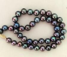 """18"""" 9-10mm natural tahitian black multicolor pearl necklace"""