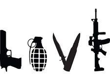 LOVE WEAPONS GUN Vinyl Decal Home Art Decor Lettering Words