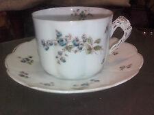 Antique Handpainted Scalloped Demitasse Cup & Saucer 82633 53 Bluebells FBC
