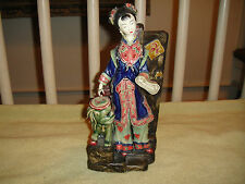 Chinese Pottery Statue Of Woman & Foo Dog-Signed & Dated-Detailed
