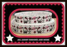 "7/8""HELLO KITTY ROCKSTAR  WHITE GROSGRAIN RIBBON W STRIPE - 1 YD"