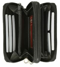 Ladies Genuine Leather Accordion Style Double Zipper Womens Purse Black Wallet