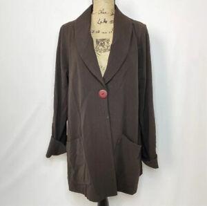 Sympli Blazer 8 Brown One Button Jacket