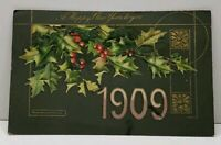 Happy New Year 1909 Embossed Flushing NY to Clear Water FL Postcard F19