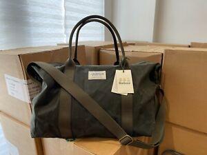 Barbour Eadan Holdall Green Waxed Cotton Weekender Bag