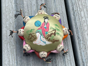 Chinese Pincushion With Hand Painted Top & Surrounded By Boys
