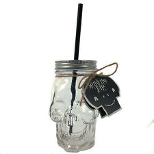 SOMETHING DIFFERENT GLASS SKULL DRINKING JAR W/ METAL LID & BLACK STRAW. GOTHIC.