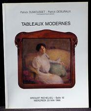Catalogue Dumousset & Deburaux Tableaux modernes BE